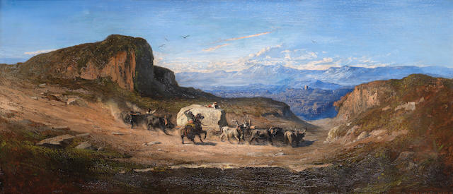 Antoine Joseph Bourlard (Belgian, 1826-1899) A group of bullocks with their herders carrying a block of Carrara marble from the quarries of the Apuan Mountains, Tuscany, down to the town of Carrara