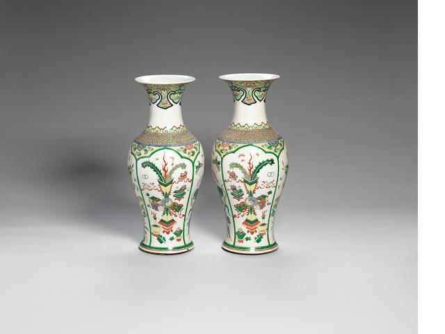 A pair of famille verte baluster vases 19th century