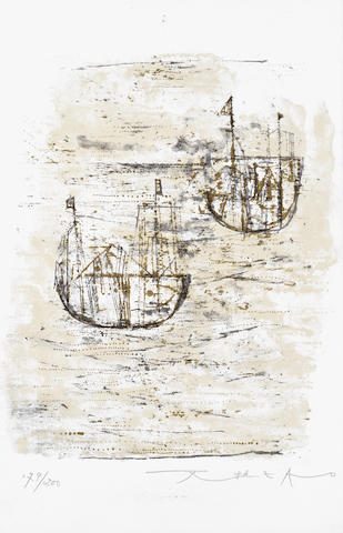 Zao Wou-Ki (Chinese/French, 1921-2013) Les Petits Bateaux Lithograph printed in colours, on wove, signed and numbered 179/200 in pencil, printed by E et J Desjobert, Paris, published by Cadby-Birch Gallery, New York, with full margins, 250 x 164mm (9 7/8 x 6 1/2in)(SH) unframed
