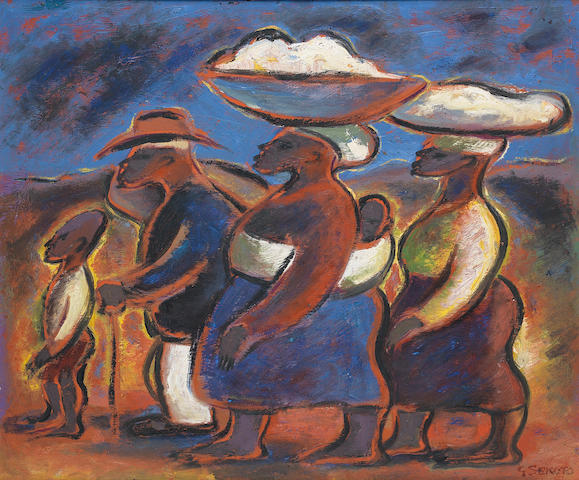 Gerard Sekoto (South African, 1913-1993) 'The Family on the Road'