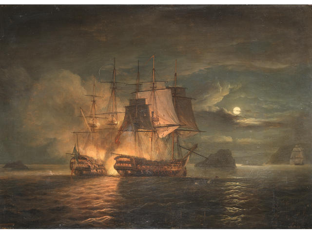 Thomas Luny (British, 1759-1837) The French '74 Hercule surrendering to H.M.S. Mars off Brest, 21st. April 1798