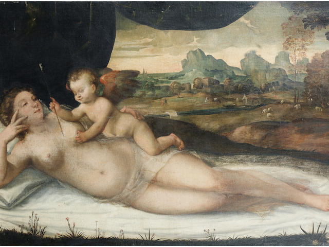 Workshop of Giovanni de'Busi, called Cariani (Fulpiano circa 1485-1547 Venice) Venus and Cupid  unframed