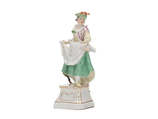 A rare Höchst figure of La Scaramouche from the Italian Comedy, circa 1752
