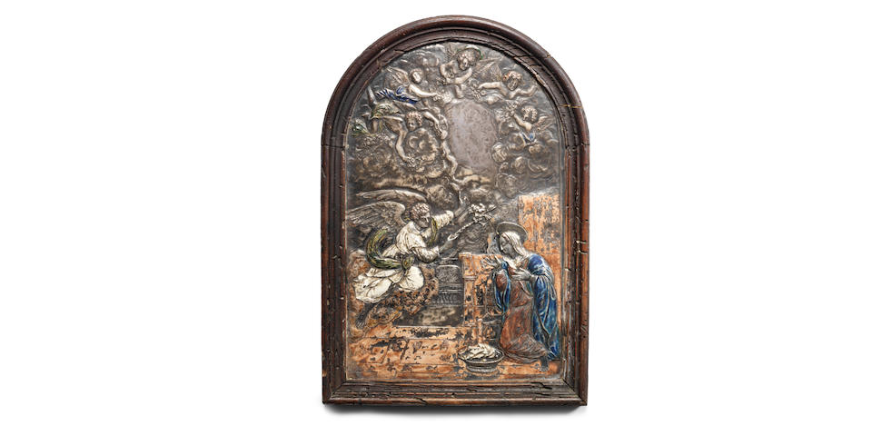A late 16th / early 17th century Augsburg silver and enamelled panel depicting the Annunciation possibly from the workshop of Matthias Wallbaum (1554-1632)