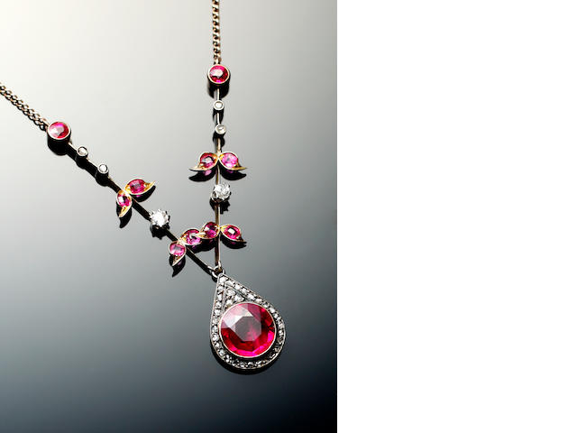 A synthetic ruby and diamond necklace