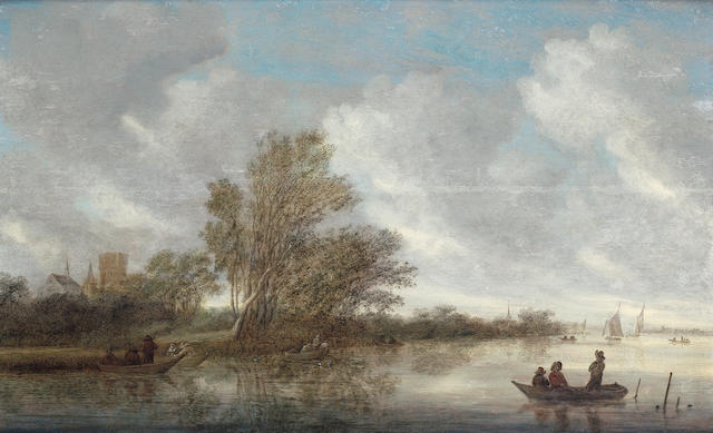 Salomon van Ruysdael (Naarden circa 1602-1670 Haarlem) An extensive river landscape with figures in a barge, a village beyond
