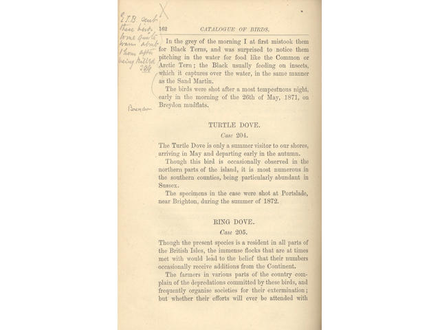 BOOTH (EDWARD THOMAS) Catalogue of the Cases of Birds in the Dyke Road Museum, 1876; and others (6)
