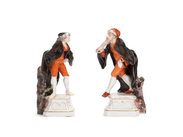 A very rare pair of Höchst figures of Pantaloone and Pantalone from the Italian Comedy, circa 1752
