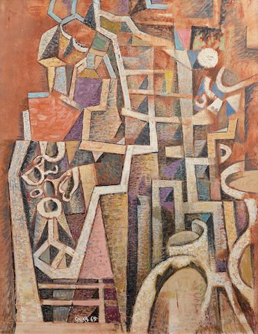 Nikos Hadjikyriakos-Ghika (Greek, 1906-1994) Midday 90.2 x 70.7 cm.