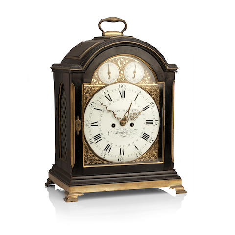 A George I and later brass mounted ebonized bracket clockDial inscribed William Mathews, London, the movement engraved Thomas Best, London