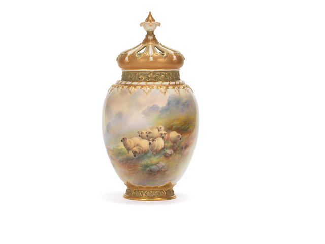 A large Royal Worcester pot pourri vase and two covers by Harry Davis, dated 1919