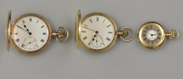 Three pocket watches, a fob watch and a 9ct gold Albert chain