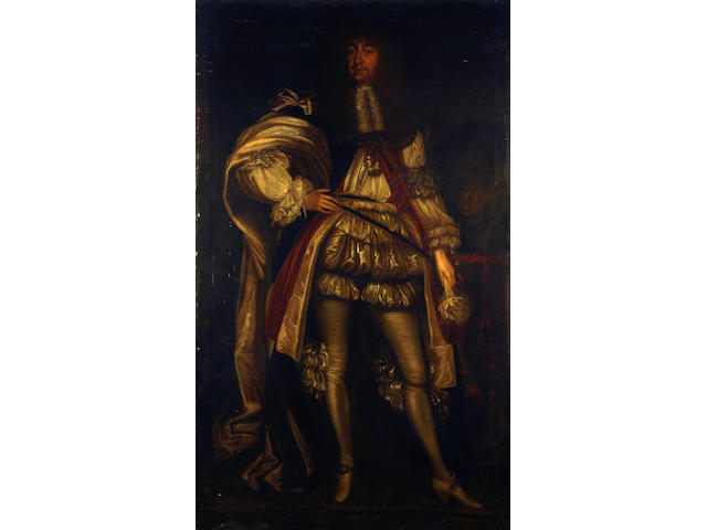 Follower of Sir Peter Lely (Soest 1618-1680 London) Portrait of George Villiers, 2nd Duke of Buckingham, full-length, in ceremonial robes and wearing the Order of St. George unframed (the frame, in four parts, is available)