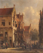 Flemish School, 19th century A Pair of Street Scenes