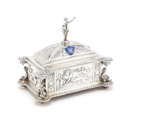 A Victorian silver 'City of Wakefield' presentation casket by Frederick Elkington, Birmingham 1888