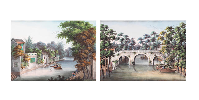 Two export river scene paintings from a series 19th century
