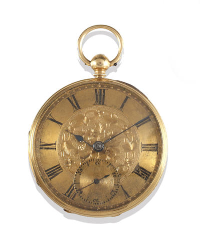 A Victorian 18ct gold open face pocket watch and a small collection of gentleman's jewellery (3)