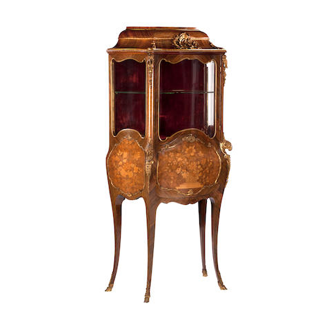 A late 19th/early 20th century walnut and ormolu mounted secretaire vitrine