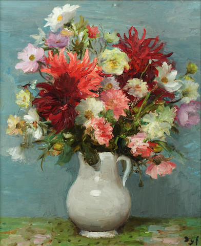 Marcel Dyf (French, 1899-1985) 'Dahlias Rouges, Pot Blanc'