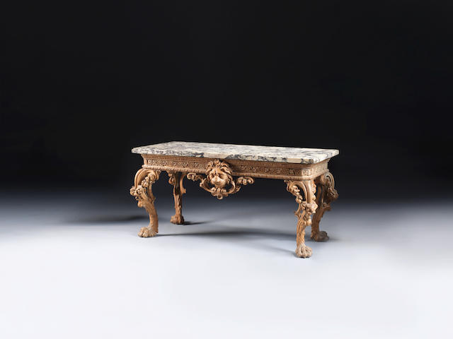 A George II carved pine side table attributed to William Linnell the design possibly by John Linnell