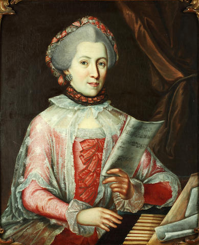French School, 18th Century Portrait of a lady, half-length, in a pink dress and headdress and a lace cape, at her spinet