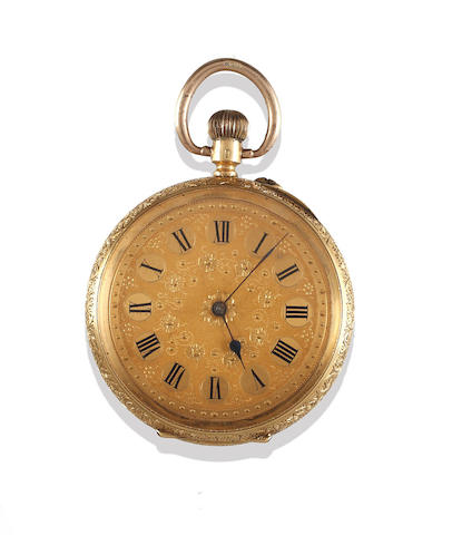 An open face pocket watch, an Albert chain with two pound coin pendant and a rolled gold pocket watch (3)