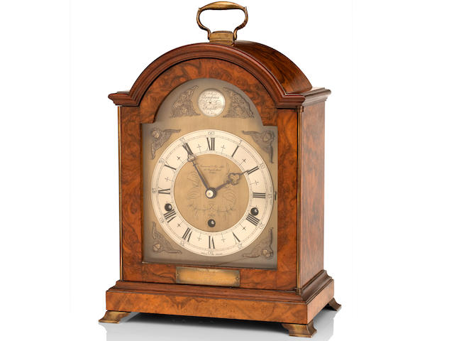 Of Royal Interest:  A mid-20th century walnut quarter striking bracket clock Retailed by Garrard & Co. Ltd, 112 Regent Street, London