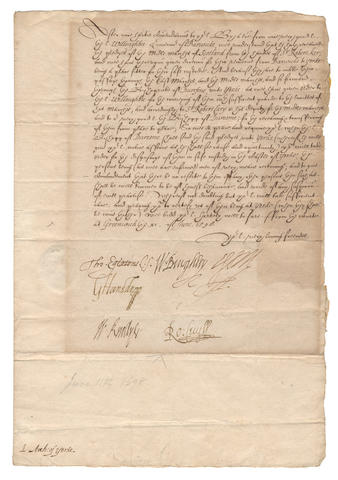 "ELIZABETH I'S PRIVY COUNCIL – ESSEX and THE CECILS. Privy Council letter signed by the Earl of Essex (""Essex""), Lord Burghley (""W. Burghley""), Sir Robert Cecil (""Ro: Cecil""), Sir Thomas Egerton, as Lord Keeper (""Tho. Egerton C.S.""), George Carey, second Baron Hunsdon (""G Hunsdon""), and Sir William Knollys, Greenwich, 11 June 1598"