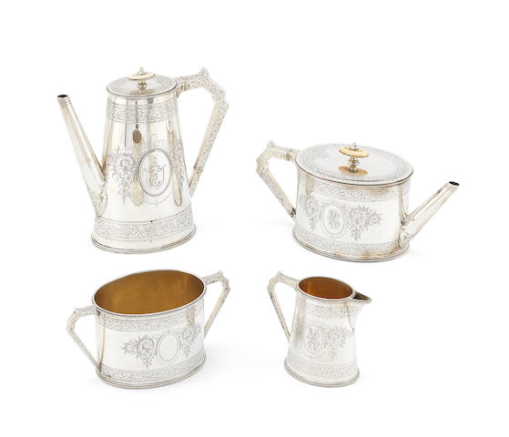 A Victorian silver four-piece tea and coffee service by Frederick Elkington, Birmingham 1877 (4)