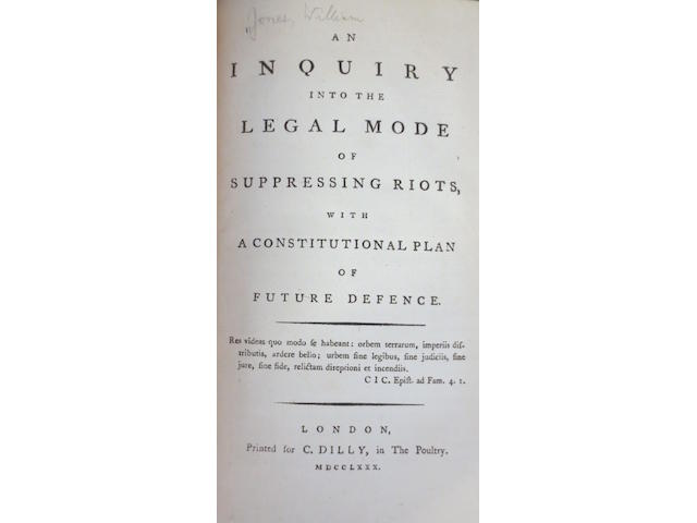 PUBLIC DISORDER - [JONES (WILLIAM)] An Inquiry into the Legal Mode of Suppressing Riots, 1780--SHARP (GRANVILLE) A Tract on Duelling, 1790 (2)