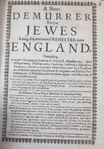 JUDAICA - PRYNNE (WILLIAM) A Short Demurrer To the Jewes, 1656--NETTLES (STEPHEN) An Answer to the Jewish Part Of Mr Selden's History of Tithes, 1625--ABENDANA (ISAAC) Discourses of the Ecclesiastical and Civil Polity of the Jews, 1709 (3)