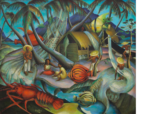 Alexis Preller (South African, 1911-1975) 'The Fishermen of Beau Vallon', 1949