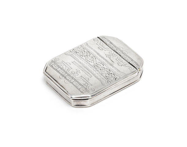 A late 17th / early 18th century English provincial silver snuff box makers mark 'AH' with crown above and pellet below (once to interior cover and once to interior base), see Jackson's page 514, possibly an alternative mark for Arthur Haselwood, Norwich, circa 1700