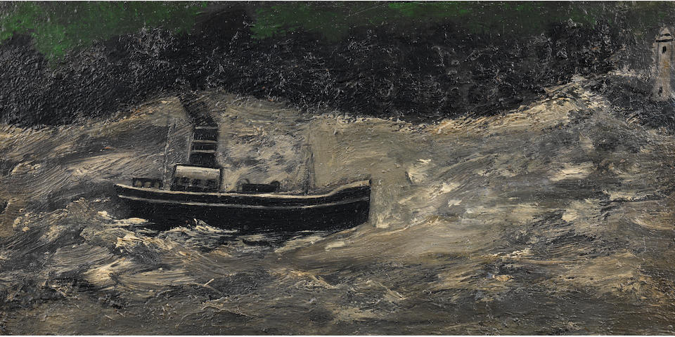 Alfred Wallis (British, 1855-1942) Two Steamers in St. Ives Bay 38.1 x 50.5 cm. (15 x 19 7/8 in.)