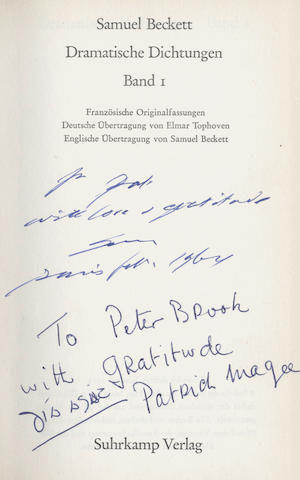 "BECKETT (SAMUEL) Dramatische Dictungen. Band I, FIRST EDITION, AUTHOR'S PRESENTATION COPY, INSCRIBED ""for Pat with love & gratitude... 1964"", and subsequently by Patrick Magee to Peter Brook, Frankfurt, Suhrkamp, 1963"