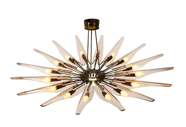 Max Ingrand for Fontana Arte Dalia Chandelier circa 1954 brass and coloured glass Diameter: 130 cm. 51 3/16 in.