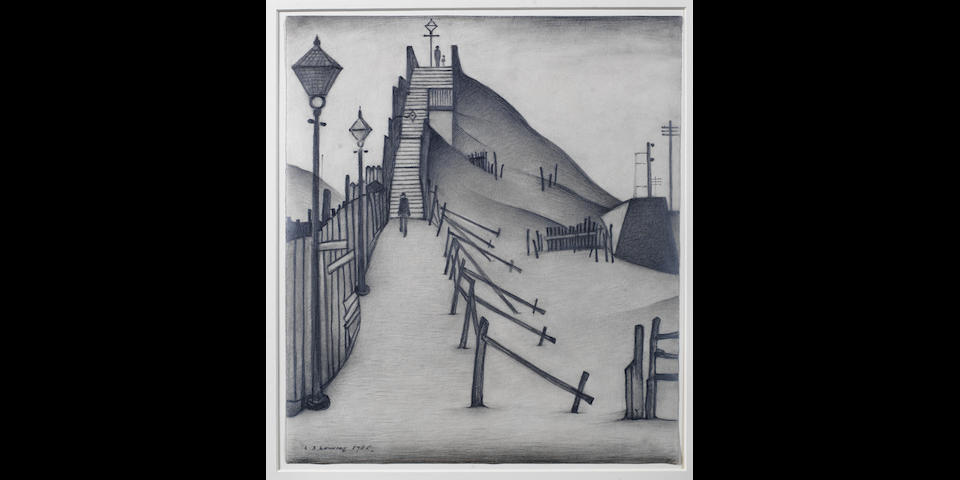Laurence Stephen Lowry R.A. (British, 1887-1976) A Footbridge 37.4 x 32.4 cm. (14 3/4 x 12 3/4 in.)