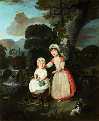 English School, late 18th Century Two children before a river landscape