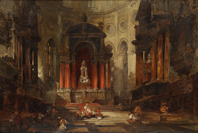 David Roberts, RA (British, 1796-1864) Interior of Antwerp Cathedral