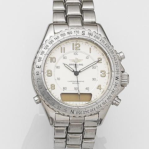 Breitling. A stainless steel quartz chronograph bracelet watch with digital display Chronographe Reveil, Ref:A51035, Case No.0537, Circa 1998