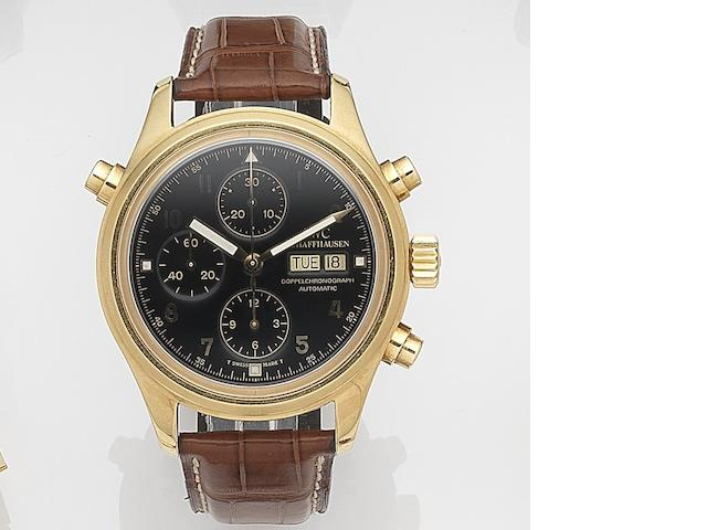 IWC. An 18ct gold automatic calendar chronograph wristwatch with split seconds Der Doppelchronograph, Ref:3713, Case No.2540013, Circa 1995