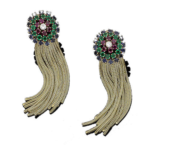 A pair of ruby, emerald, sapphire and diamond pendent earrings,