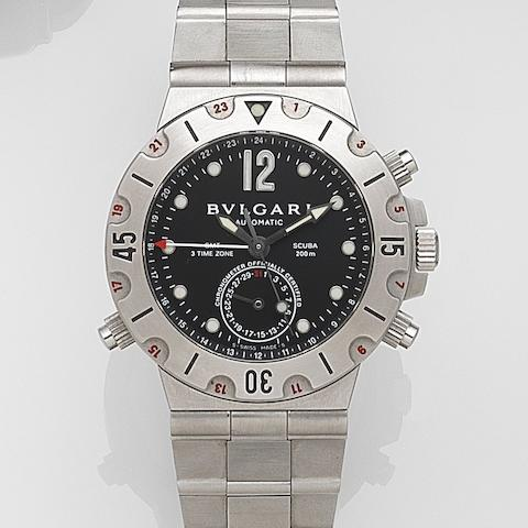 Bulgari. A stainless steel automatic calendar bracelet watch with dual time zones  Diagono Scuba GMT, Ref:SD38S, Case No.D5650, Circa 2007