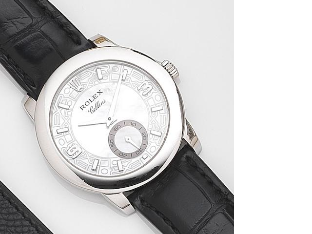 Rolex. A platinum manual wind wristwatch with mother of pearl dial Cellini, Ref:5240, Circa 2007
