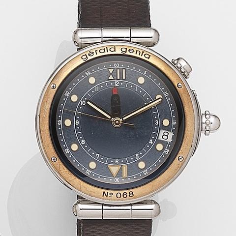 Gerald Genta. A stainless steel automatic alarm calendar wristwatch Bartolomeo, Ref:G3268.G, Case No.55742, Circa 1995
