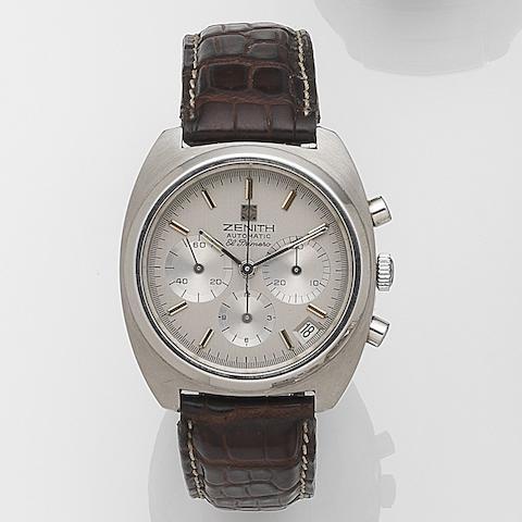 Zenith. A stainless steel automatic calendar chronograph wristwatch El Primero, Circa 1970