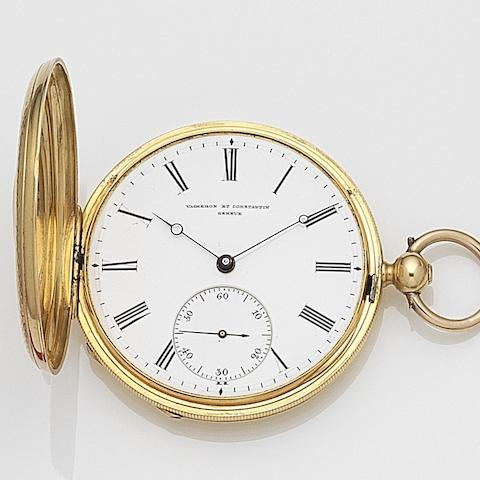 Vacheron & Constantin. An 18ct gold key wind full hunter pocket watch Case and Cuvette No.70957, Circa 1848