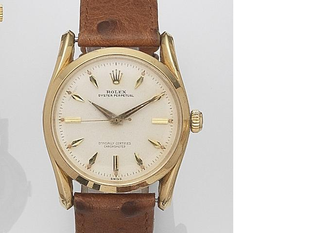 Rolex. An 18ct gold automatic wristwatch Bombe, Ref:6590, Serial No.417***, Movement No.N85****, Circa 1959