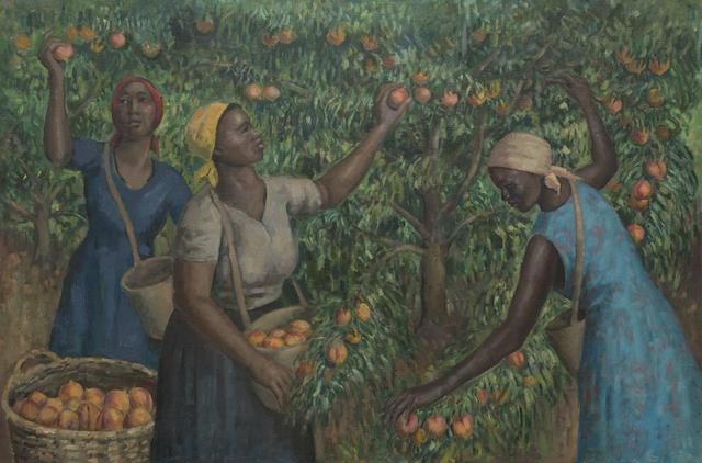 Alfred Neville Lewis (South African, 1895-1972) The peach pickers, Franschhoek