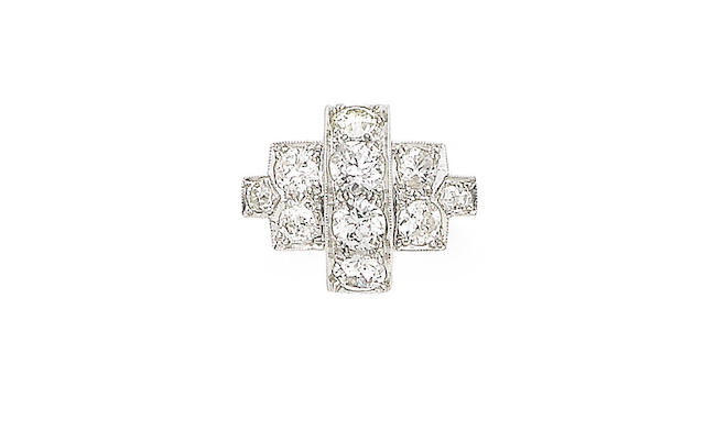 An art deco diamond dress ring,